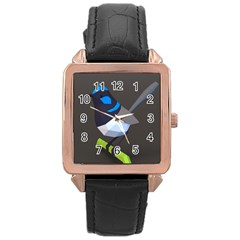 Animals Bird Green Ngray Black White Blue Rose Gold Leather Watch  by Alisyart