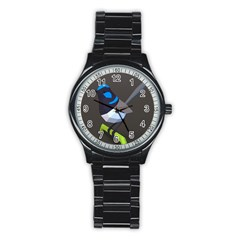 Animals Bird Green Ngray Black White Blue Stainless Steel Round Watch by Alisyart