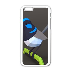 Animals Bird Green Ngray Black White Blue Apple Iphone 6/6s White Enamel Case by Alisyart