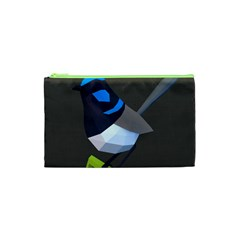 Animals Bird Green Ngray Black White Blue Cosmetic Bag (xs) by Alisyart