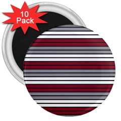 Fabric Line Red Grey White Wave 3  Magnets (10 Pack)  by Alisyart
