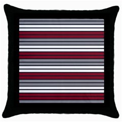 Fabric Line Red Grey White Wave Throw Pillow Case (black) by Alisyart