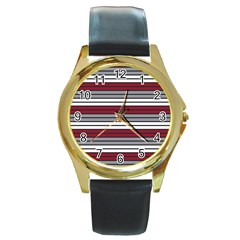 Fabric Line Red Grey White Wave Round Gold Metal Watch by Alisyart