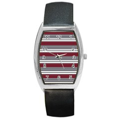 Fabric Line Red Grey White Wave Barrel Style Metal Watch