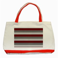 Fabric Line Red Grey White Wave Classic Tote Bag (red) by Alisyart