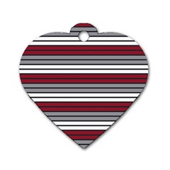 Fabric Line Red Grey White Wave Dog Tag Heart (one Side) by Alisyart