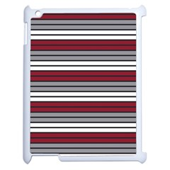 Fabric Line Red Grey White Wave Apple Ipad 2 Case (white) by Alisyart