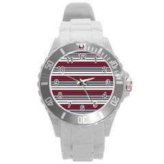 Fabric Line Red Grey White Wave Round Plastic Sport Watch (l) by Alisyart