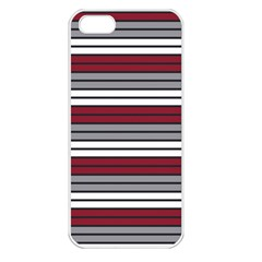 Fabric Line Red Grey White Wave Apple Iphone 5 Seamless Case (white)