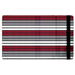 Fabric Line Red Grey White Wave Apple Ipad 2 Flip Case by Alisyart
