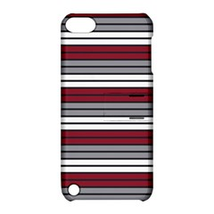 Fabric Line Red Grey White Wave Apple Ipod Touch 5 Hardshell Case With Stand by Alisyart