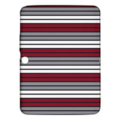 Fabric Line Red Grey White Wave Samsung Galaxy Tab 3 (10 1 ) P5200 Hardshell Case  by Alisyart