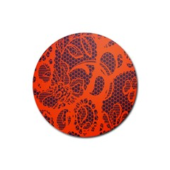 Enlarge Orange Purple Rubber Coaster (round)