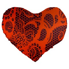Enlarge Orange Purple Large 19  Premium Heart Shape Cushions by Alisyart
