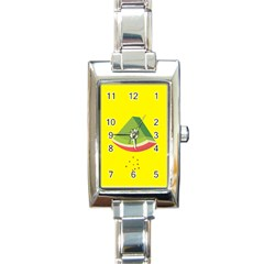 Fruit Melon Sweet Yellow Green White Red Rectangle Italian Charm Watch by Alisyart