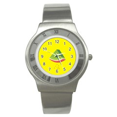 Fruit Melon Sweet Yellow Green White Red Stainless Steel Watch by Alisyart
