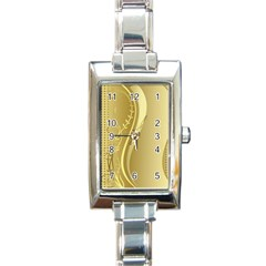 Golden Wave Floral Leaf Circle Rectangle Italian Charm Watch by Alisyart