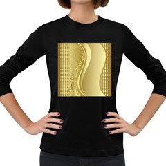 Golden Wave Floral Leaf Circle Women s Long Sleeve Dark T Shirts
