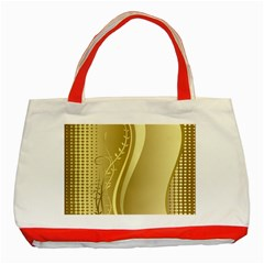 Golden Wave Floral Leaf Circle Classic Tote Bag (red)
