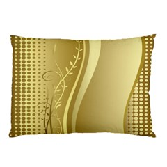 Golden Wave Floral Leaf Circle Pillow Case by Alisyart