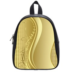 Golden Wave Floral Leaf Circle School Bags (small)