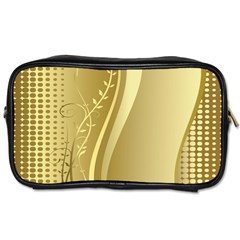 Golden Wave Floral Leaf Circle Toiletries Bags 2 Side