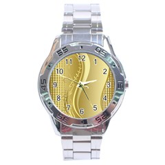 Golden Wave Floral Leaf Circle Stainless Steel Analogue Watch by Alisyart
