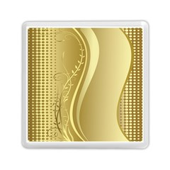 Golden Wave Floral Leaf Circle Memory Card Reader (square)  by Alisyart