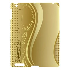 Golden Wave Floral Leaf Circle Apple Ipad 3/4 Hardshell Case by Alisyart
