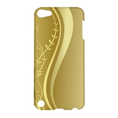 Golden Wave Floral Leaf Circle Apple Ipod Touch 5 Hardshell Case by Alisyart