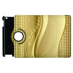 Golden Wave Floral Leaf Circle Apple Ipad 2 Flip 360 Case by Alisyart