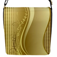 Golden Wave Floral Leaf Circle Flap Messenger Bag (s) by Alisyart