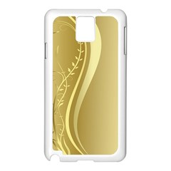 Golden Wave Floral Leaf Circle Samsung Galaxy Note 3 N9005 Case (white) by Alisyart