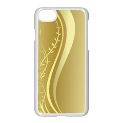 Golden Wave Floral Leaf Circle Apple Iphone 7 Seamless Case (white) by Alisyart