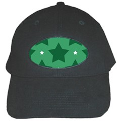 Green White Star Black Cap by Alisyart