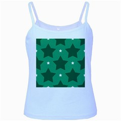Green White Star Baby Blue Spaghetti Tank by Alisyart