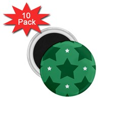 Green White Star 1 75  Magnets (10 Pack)  by Alisyart