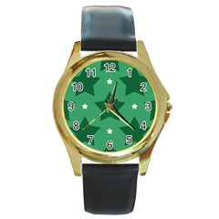 Green White Star Round Gold Metal Watch by Alisyart
