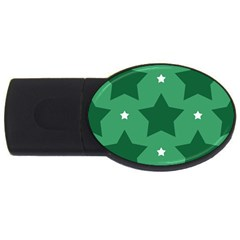 Green White Star Usb Flash Drive Oval (2 Gb)