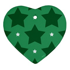 Green White Star Heart Ornament (two Sides) by Alisyart