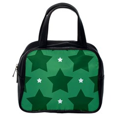 Green White Star Classic Handbags (one Side) by Alisyart