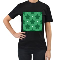 Green White Star Women s T Shirt (black) by Alisyart