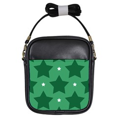 Green White Star Girls Sling Bags