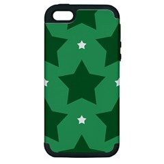 Green White Star Apple Iphone 5 Hardshell Case (pc+silicone) by Alisyart