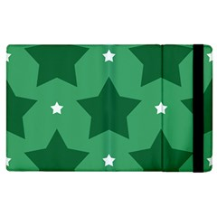 Green White Star Apple Ipad 3/4 Flip Case by Alisyart