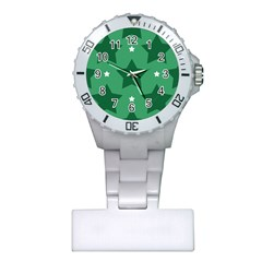 Green White Star Plastic Nurses Watch by Alisyart