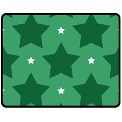 Green White Star Double Sided Fleece Blanket (medium)  by Alisyart