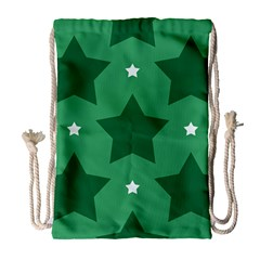 Green White Star Drawstring Bag (large) by Alisyart