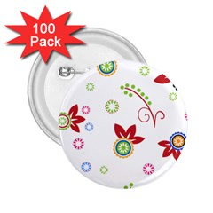 Floral Flower Rose Star 2 25  Buttons (100 Pack)  by Alisyart