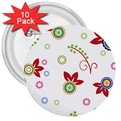 Floral Flower Rose Star 3  Buttons (10 Pack)